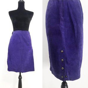 Purple Suede Leather Skirt by GIII Size Small